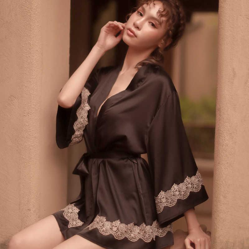 プラスサイズセクシーなロングスリーブシルクローブ女性浴衣結婚式ナイトウェアパジャマサテンローブ