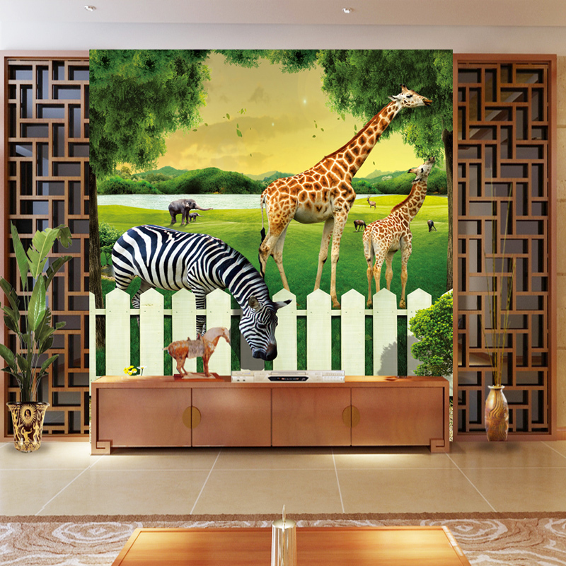 Free shipping large 3d children 39 s room green background for Custom size wall mural