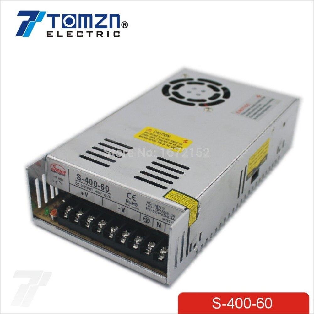 400 W 60 V 6.7A alimentation à découpage à sortie unique AC à DC SMPS CNC