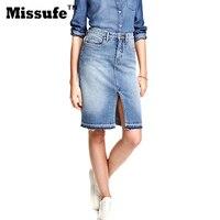 Missufe Burr Hem Side Split High Waist Jeans Skirts Womens 2017 Spring Summer Kneed Length Vintage