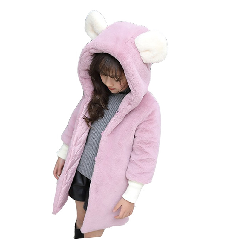 Long Kids Jacket for Girls Clothing Cute Baby Girl Winter Jackets Warm Faux Fur Coat Children Jacket Rabbit Ear Hooded Outerwear 2017 children wool fur coat winter warm natural 100% wool long stlye solid suit collar clothing for boys girls full jacket t021