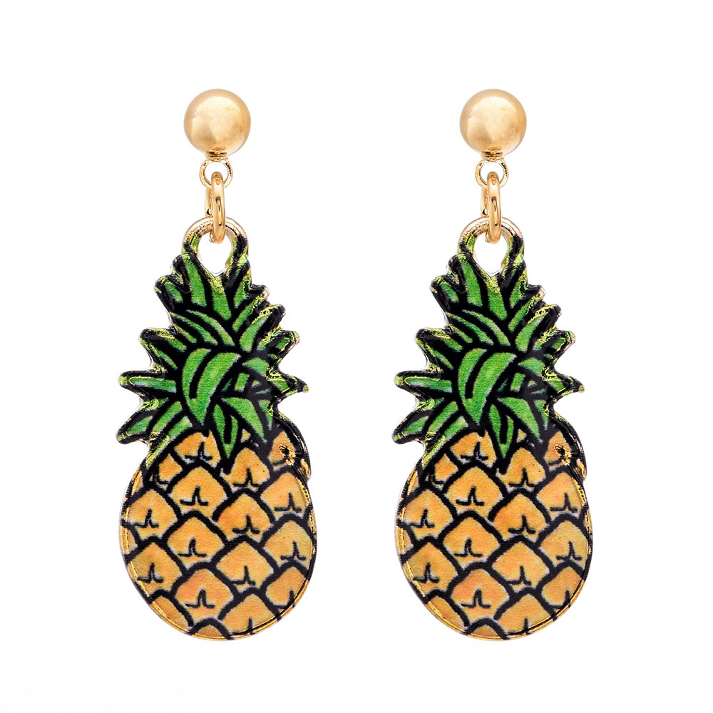 Hot Fashion Gold Earrings Pineapple Stud Earrings For Women Lady Authentic  Original Jewelry Gift(china