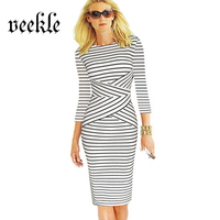 VEEKLE Summer Bodycon Short Black And White Striped Zebra Ladies Straight Business Pencil Work Office Dresses