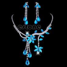 все цены на Fashion Women Flower Leaf Rhinestone Crystal Necklace Drop Earrings Jewelry Set онлайн