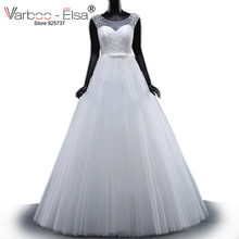 VARBOO ELSA Robes De Mariage 2017 White Lace Bridal Gown Arabic Luxury  Pearls Beaded Wedding Dress Sleeveless 200f314ca481