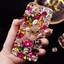 Luxury Fox Diamond Bling Rhinestone Fundas Cases for Samsung Galaxy A7 A8 2018 Coque Covers Girl For iPhone XS Max XR 7 8 Plus 6(China)