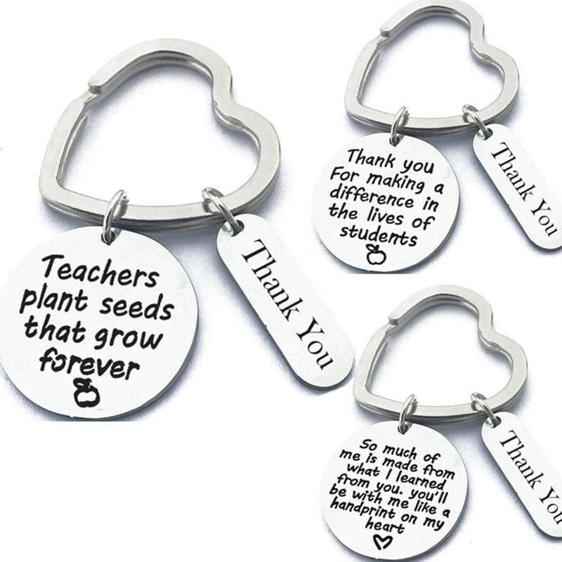 JWEIJIAO Heart Shape Pendant Best Super Teacher Key Chain