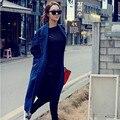 O Envio gratuito de 2017 de Moda de Nova Reta Longa Turn-down Collar Denim Trench Casacos de Algodão Para As Mulheres Primavera E No Outono casacos