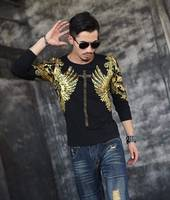 2017 Latest Release Casual Fashion Men Shirt Rock Style Men S Autumn Clothing Tops Male Bronzing