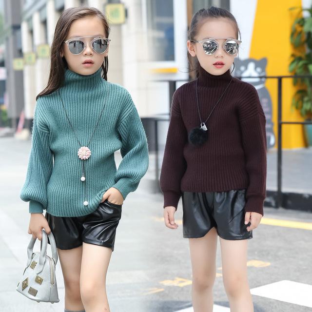 Crianças Meninas Camisola de Gola Alta Sólida Lanterna Da Luva Da Forma do Inverno Da Menina casaco Cardigan Camisola das Crianças roupas de menina quente e macio