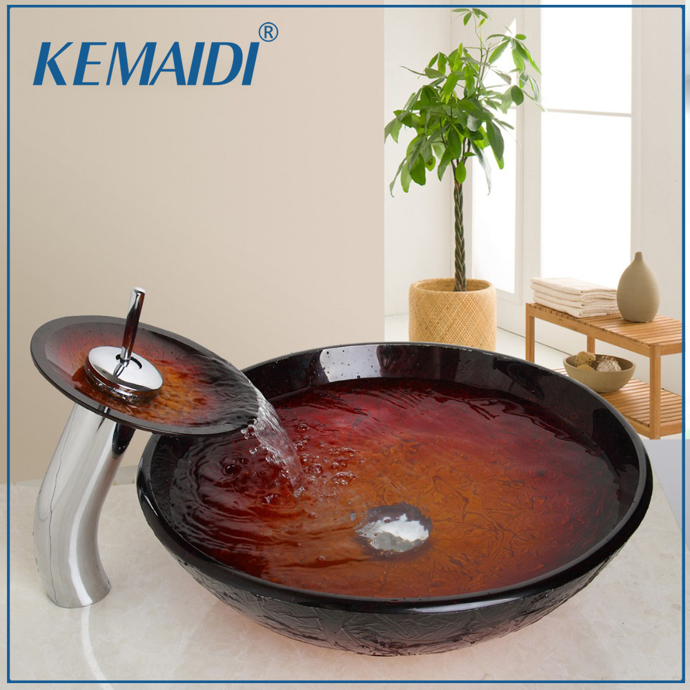 где купить KEMAIDI Waterfall Deck Mount Single Handle Washbasin Lavatory Tempered Glass Basin Sink Combine Vessel Vanity Tap Mixer Faucet дешево