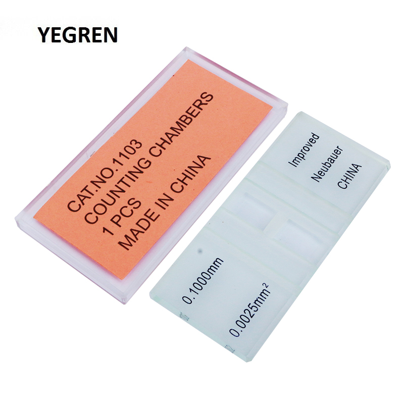 1 Piece Blood Cell Count Plate Glass Microscope Slide With Grid Counting Chambers For Hemocytometer Yeast Counting Biology Tool