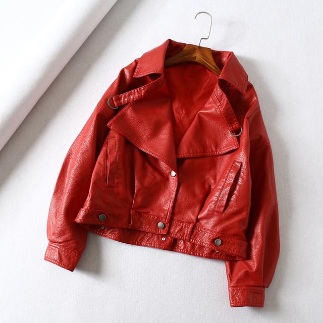 Fitaylor Women Faux Leather Jacket Batwing Sleeve Vintage Biker Coat Short Zipper Motor PU Red Jacket Spring Street Leather Coat