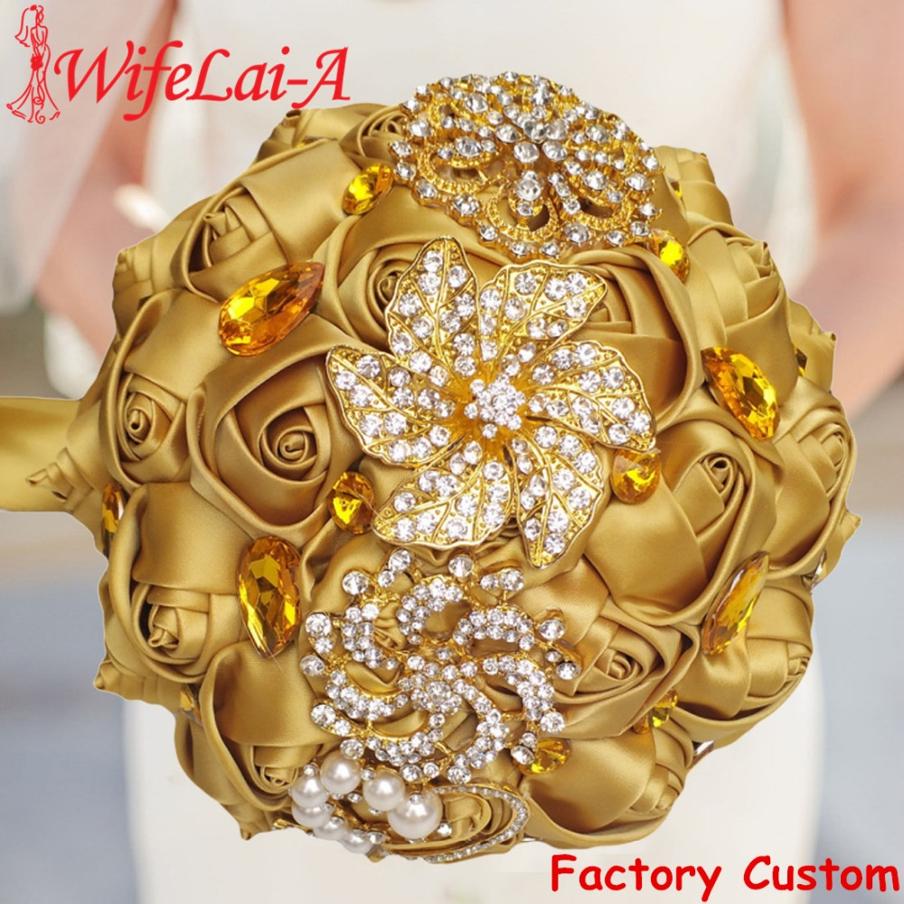 WifeLai-A Gold Brooch Diamond Bridal Wedding Bouquets Bridal Crystal Silk Flowers Bridal Bouquets De Noiva Factory Custom W227Q