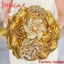 WifeLai EINE Gold Brosche Diamant Braut Hochzeit Bouquets Braut Kristall Seide Blumen Braut Bouquets de noiva Factory Custom W227Q