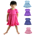 Real Rushed Elsa Vestidos Wennikids Retail Colors Summer Style Girl Dress Puff Sleeve Ruffled Baby Cotton Kids Party