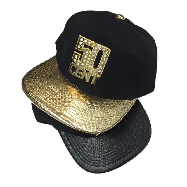 2017 gold black baseball cap snapback with metal letter fifty cap snapback 50 cent diamond leather brim women men hip hop hats