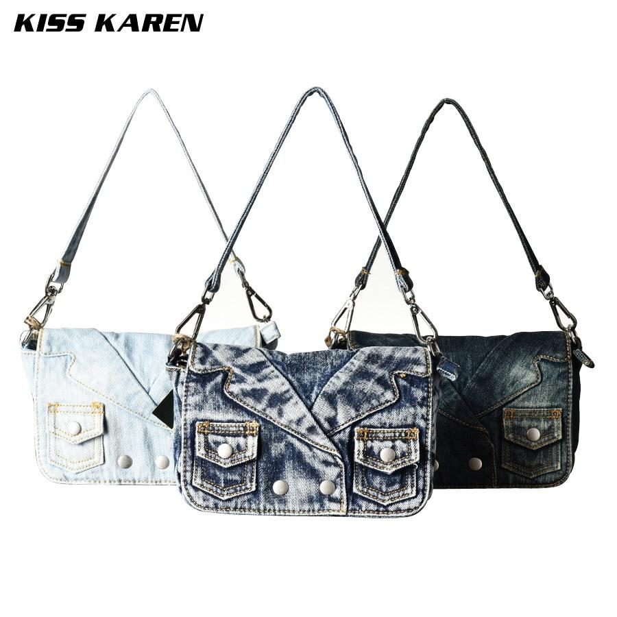 ФОТО KISS KAREN Vintage Fashion Women Denim Bag Jeans Women Shoulder Bags Ladies Crossbody Bag Women's Messenger Bags Cowboy Satchels