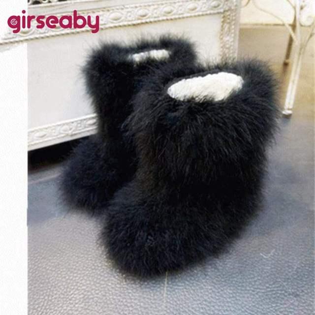 Girseaby phụ nữ Mới Mùa Đông Phụ Nữ Khởi Động Tuyết Mềm lông Đà Điểu Lông lông Lông căn hộ sang trọng ấm khởi động ngoài trời giày botte