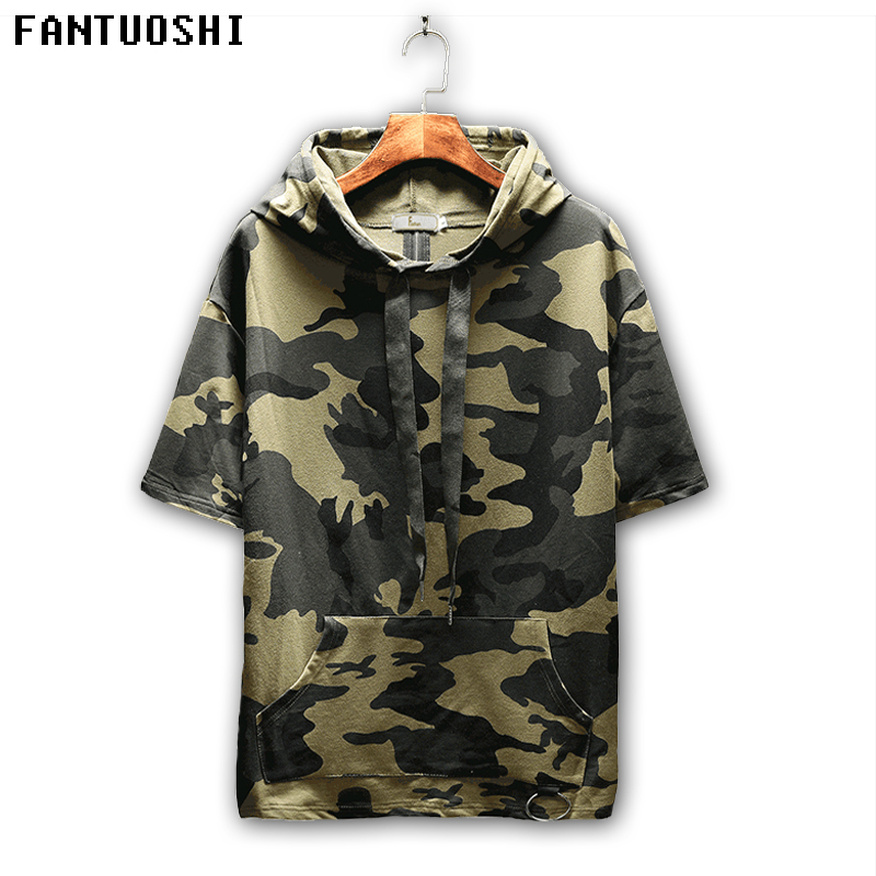 2018 New 95%Cotton Menswear Hooody Men High Quality Breathable Fashion Color Hooides Men Short Sleeve Casual Loose Pullover Coat