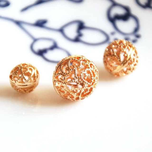 10 pcs/lot gold color round hollow balls DIY golden materials bracelet necklace earrings jewelry making craft handmade no fading