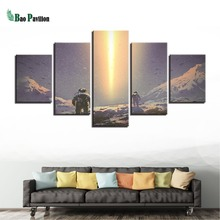 Art Painting Modular Home HD Printed 5 Panel Outer Space Astronauts Canvas Poster Framework Decoration Living Room Wall Pictures