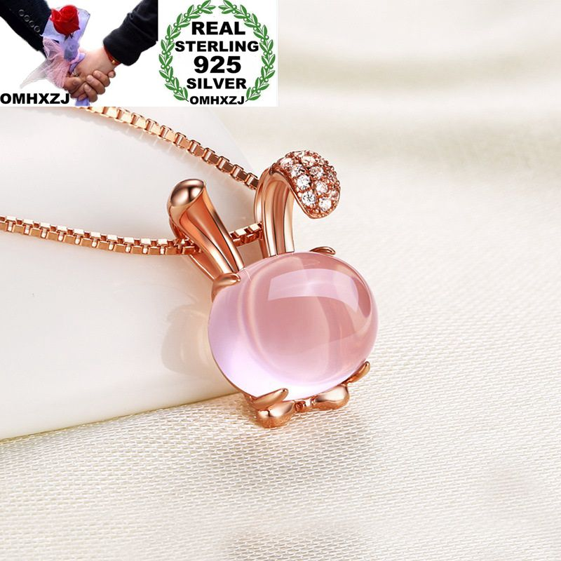 OMHXZJ Wholesale European Fashion Woman Girl Gift Rabbit Rose Quartz AAA Zircon 925 Sterling Silver Necklace Pendant Charm CA08