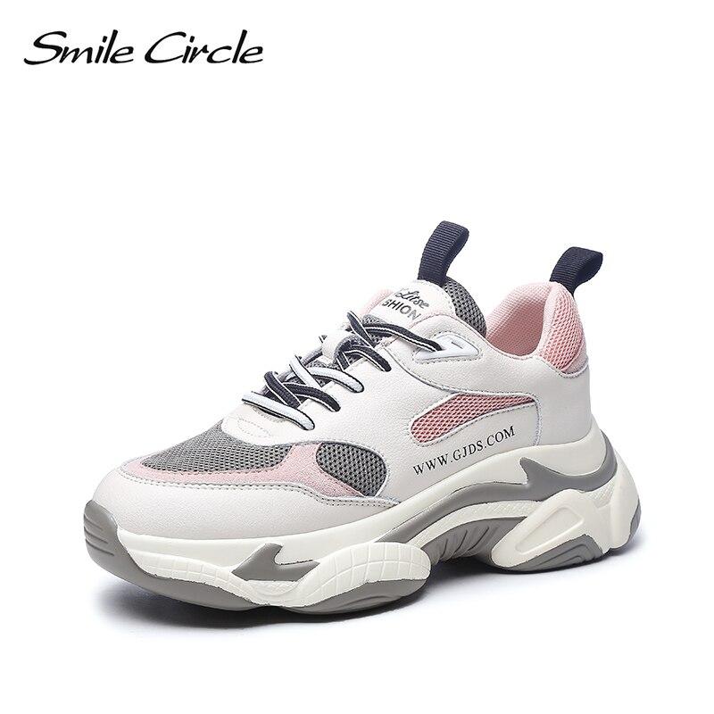 Ayakk.'ten Vulkanize Kadın Ayakkabıları'de Gülümseme Daire 2019 Yeni Ayakkabı Kadın Sneakers dantel up tıknaz Düz platform rahat ayakkabılar Kadınlar için pembe kız'da  Grup 1