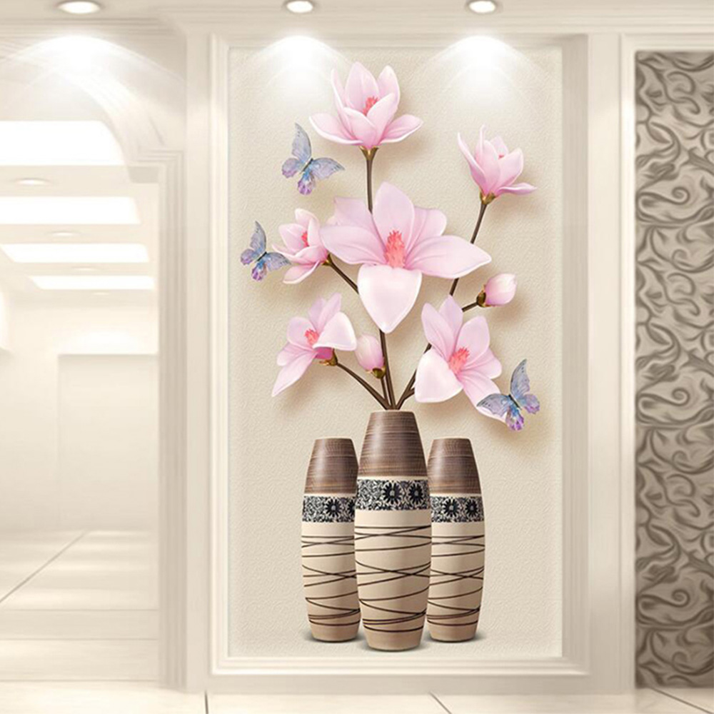 Pink Yulan floral vase Diamond Painting Full Round Porch corridor New DIY Sticking Drill Cross Embroidery 5D Home Decoration in Diamond Painting Cross Stitch from Home Garden