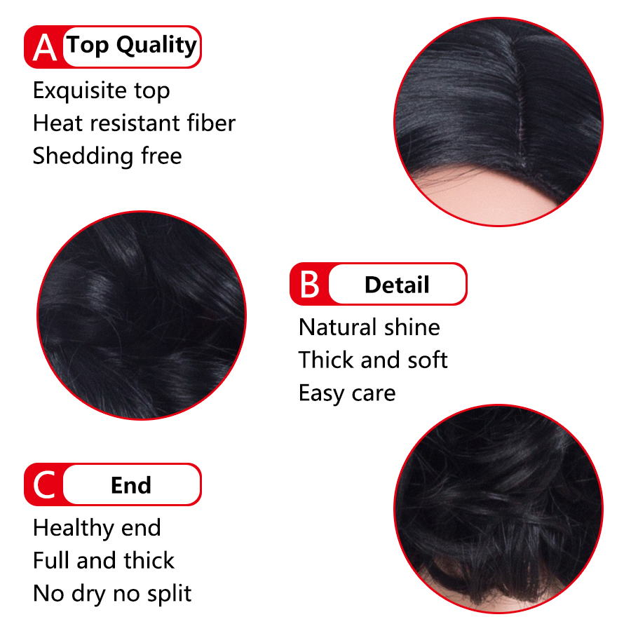 ELEGANT MUSES Hair Loose Deep Wave Heat Resistant Synthetic Wigs for Woman Machine Made Short Wigs 10 Inch 185g Natural Black