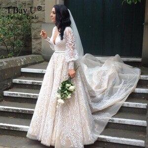 Image 2 - גלימות De Mariage 2020 יוקרה ואגלי תחרה חתונה שמלה ארוך שרוולי תחרת אפליקציות כלה שמלת חתונת שמלת Vestido Novia