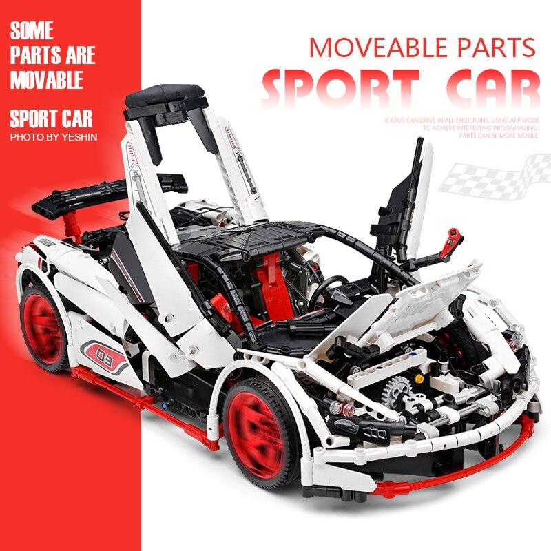 Image 4 - DHL 20087 APP Technic Car Series Compatible lepining MOC 16915 White Icarus Car Set Kids Building Blocks Bricks RC CarBlocks   -