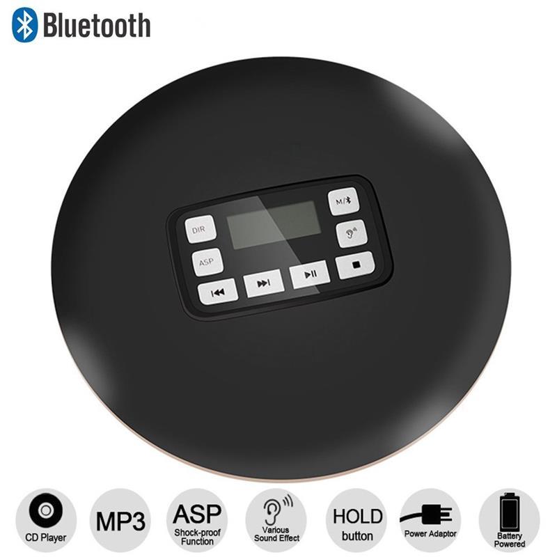 Портативный CD-плеер Беспроводная связь Bluetooth HiFi стерео Анти-пропустить / функция защиты Противоударная личных музыкальных компакт-дисков-проигрыватель черный