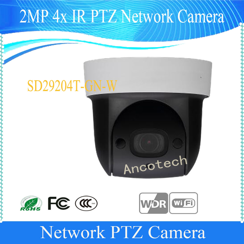 цены  Free Shipping DAHUA Security IP Camera cctv 4X 2MP HD Mini IR PTZ Dome Camera with POE Wifi Camera Without Logo SD29204T-GN-W