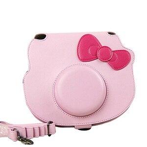Image 2 - Voor Fujifilm Instax Mini Hello Kitty Instant Film Foto Camera Roze Draagtas Pu Leather Bag Case Cover Met Schouderband