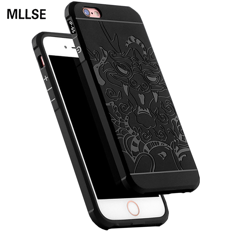 MLLSE Armor Anti Hit Shock Proof Silicone Case For iPhone X 5S SE 6S 7 8  Plus 3D Curved Dragon Drop Resistance Soft Rubber Cover 2801af60a33cb