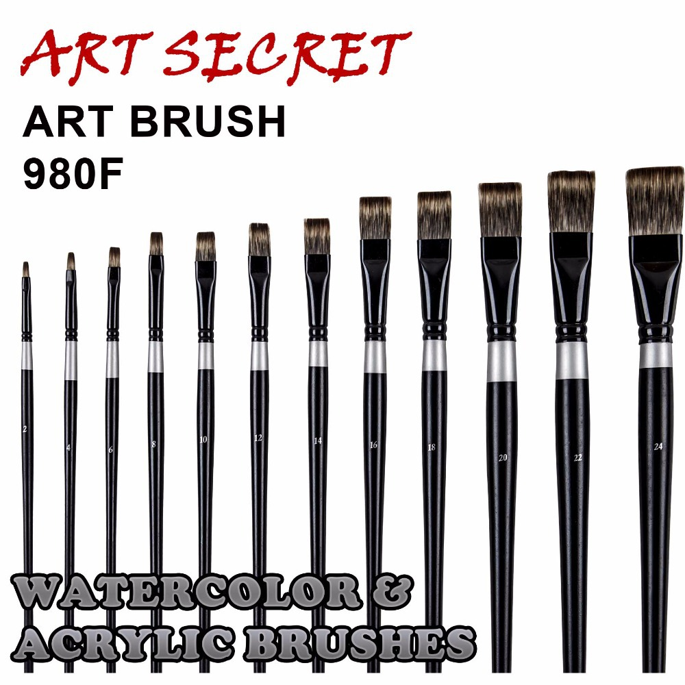 980 F Korean Importing Synthetic Hair Black Brass Ferrule 180MM Wooden Handle Art Supplies Artist Paint Brush