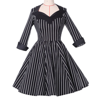 New Arrival Strip Retro 50s Long Sleeve Vintage Dress For Women Summer Sundresses Party Casual Dress