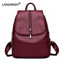 Lanzhixin Women Backpack Female Leather Backpack Women Leather Backpacks For Girls Vintage Backpacks School Shoulder Bags