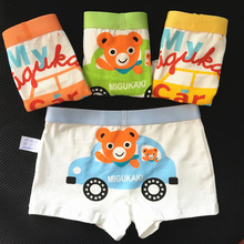 4pcs/lot Baby Boy Cotton Underwear Student  Underpants Children's Cartoon Bear Car Briefs Boys Short Briefs Kids Panties 2-10Y