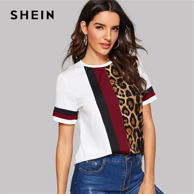 Block Cut-and-Sew Leopard Panel Top Short Sleeve O-Neck Casual T Shirt 1