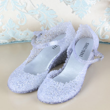 Summer Women Wedge Jelly Beach Shoes Female Nest Sandals Flower Fretwork High Heels Glass Slipper Sandalias Mujer NX142