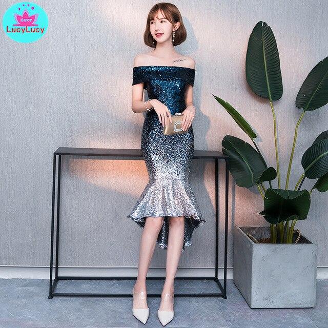 2019 new European and American banquet sequins fishtails thin ladies dresses women Knee-Length  Zippers  Slash neck