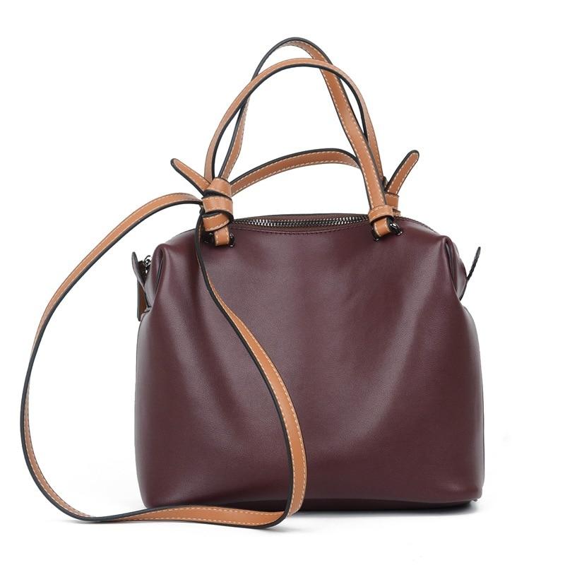 Burgundy Leather Handbag Fashion Women Tote Bag Shoulder Messenger Bag Satchel Ladies Work Purse