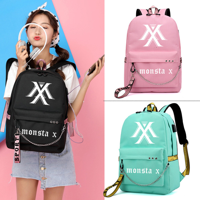 Monsta X Wanna One Jisoo Lisa Korean Style Backpack School Bags Mochila Travel Laptop Bags With Chain USB Headphone Port