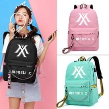 Monsta X Wollen Eine Jisoo Lisa Koreanische Stil Rucksack Schule Taschen Mochila Reise Laptop Taschen Mit Kette USB Kopfhörer Port