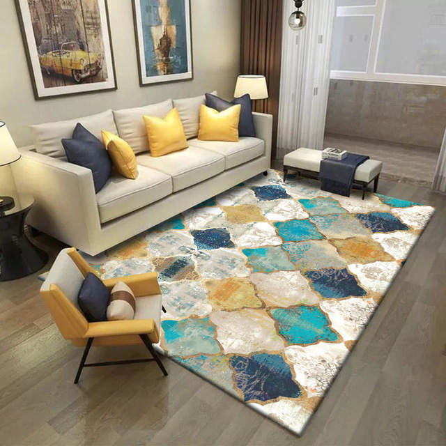 SunnyRain 1-piece Short Plush Printed Geometric Carpet For Living Room Area Rug Bedroom Rugs Slipping Resistance Kitchen Rug