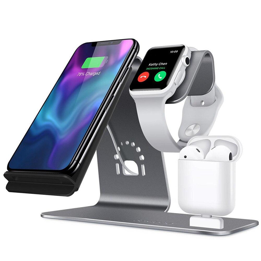 3 en 1 inalámbrico soporte de carga para Apple para AirPods Charging Station Qi cargador rápido inalámbrico para iPhone X /8 8 más