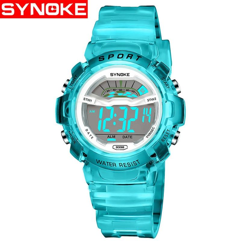 SYNOKE Children Watches Cute Kids Watches Sports Cartoon Watch For Girls Boys Rubber Children's Digital LED Wristwatches Reloj