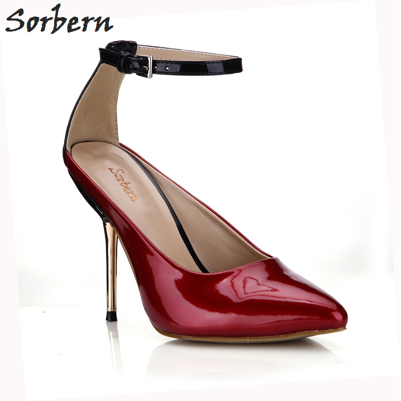 Sorbern Women Pumps High Metal Heels Buckle Strap Pointed Toe Women Shoes Pumps Ladies Party Pump Real Image Shoes women slingbacks shoes with pointed toe buckle strap perspex design crystal decoration ladies dress and party shoes high heels
